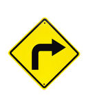 Turn right traffic sign. On white Stock Image