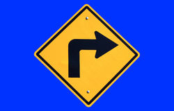 Turn right yellow road sign Stock Photography