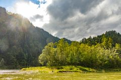 The turn of the river Dunajec stock image