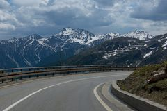 The turn of the road high in the Alps Royalty Free Stock Images