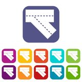 Turn road icons set flat Royalty Free Stock Photography