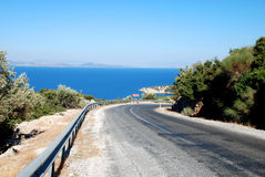 Turn road and sea. Full of turn road near seaside Royalty Free Stock Photo