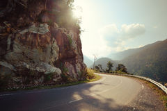 Turn of rural mountain highway in Mexico Royalty Free Stock Images
