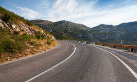 Turn of rural mountain highway Stock Image