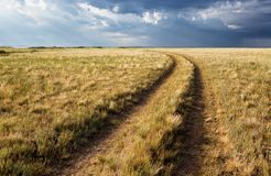 Turn of rural road in steppes Royalty Free Stock Photos