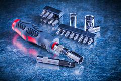 Turn screw with set of replaceable bits and torx Stock Photography