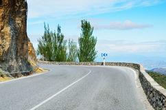 Turn of the Spanish mountain road Stock Image