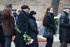 Turn to the farewell ceremony with politicians Boris Nemtsov Stock Photography