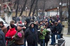 Turn to the farewell ceremony with politicians Boris Nemtsov Royalty Free Stock Photos