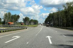 Turn to Moscow. 127 kilometers from Moscow. Stock Photo