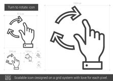 Turn to rotate line icon. Turn to rotate vector line icon isolated on white background. Turn to rotate line icon for infographic, website or app. Scalable icon Stock Photos