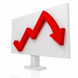Turn trend. Red graph on white background Stock Photos