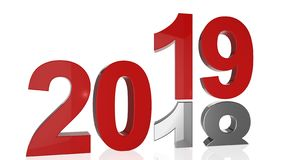 The number 2019 in red color stands on the number 2018 in silver Stock Photo
