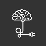 Turn on your brain. Put a plug into a socket Royalty Free Stock Image