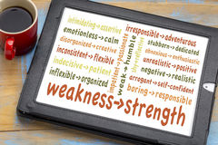 Turn your weaknesses into strengths. Concept - word cloud of weakness-strength pairs on a digital tablet with coffee Stock Image