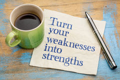 Turn your weaknesses into strengths. Motivational handwriting on a napkin with a cup of espresso coffee Royalty Free Stock Photo