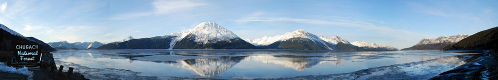 Turnagain Arm Panorama of Chugach Mountains reflecting in Cook Inlet Stock Image