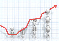 Turnaround. Dude 3D characters X7 business people pushing up Red Graph. Light Blue 3D Grid background Stock Photo
