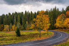 Turnaround of the forest road. Beautiful autumn nature scenery with cloudy sky Stock Photos