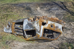Turned burned car Stock Image