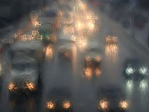 Car lights in rain night as impressionism stylized. Turned on cars headlights moving in rainy twilight as impressionism stylized stock photo