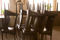 Turned chairs in restaurant Stock Photo