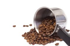 Turned coffee pot. At white Stock Photo