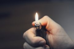 Turned on Disposable Lighter Stock Photography