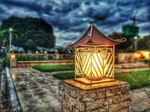 Turned on Garden Light Royalty Free Stock Photography