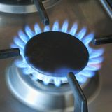 Turned-on gas burner Royalty Free Stock Photo