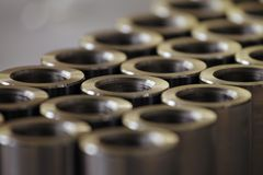 Turned metal cylinders Royalty Free Stock Images