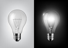 Turned off light bulb and glowing light bulb on black and white background , Transparent vector. Eps10 Stock Image