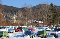 Turned row boats in winter, schliersee village, bavaria Stock Photography