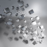 Turned silver cubes and vortex Royalty Free Stock Photo