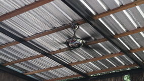 Turned on vintage ceiling electric fan stock video