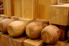 Turned wood. Stacked manufactured turned wood products Stock Photos