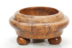 Turned Wooden Decorative Bowl with Ball-Shaped Legs Royalty Free Stock Photos