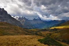 The turned yellow meadow. A meadow highly in the mountains, shined by the sun, ud clouds Stock Photo
