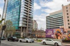 Turnera av f?retags kontor i i stadens centrum San Jose Area arkivbild