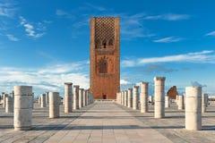 Turnera den Hassan tornfyrkanten i Rabat Marocko Arkivbild