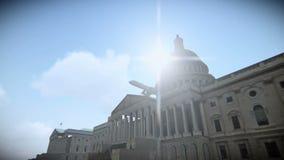 Turnera flygplanet som flyger över Förenta staternaKapitolium i Washington, DC-längd i fot räknat royaltyfri illustrationer