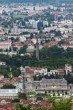 Turnera Perret i Grenoble som ses från det Bastilla berget, Frankrike arkivfoto