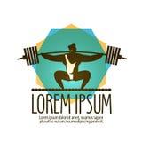 Turnhallenvektorlogo-Designschablone Gewichtsheber oder Stockbild