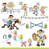 Turniejowi dziecko jeźdzowie ilustracja wektor