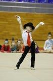 Turnier der rhythmischen Gymnastik stockfotos