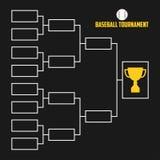 Turnier-Klammer Baseballmeisterschaftsentwurf mit Trophäenschale Sportvektor Lizenzfreie Stockbilder