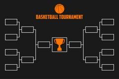 Turnier-Klammer Basketballmeisterschaftsentwurf mit Trophäenschale vektorschattenbild des Bodybuilders Vektor Lizenzfreies Stockbild