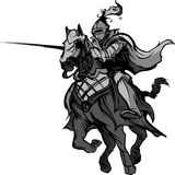 Turnierendes Ritter-Maskottchen auf Pferd vektor abbildung