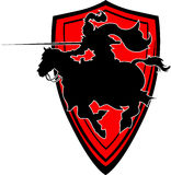 Turnierendes Ritter-Schattenbild-Maskottchen auf Pferd vektor abbildung