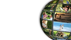 Turning ball showing families on holidays stock footage